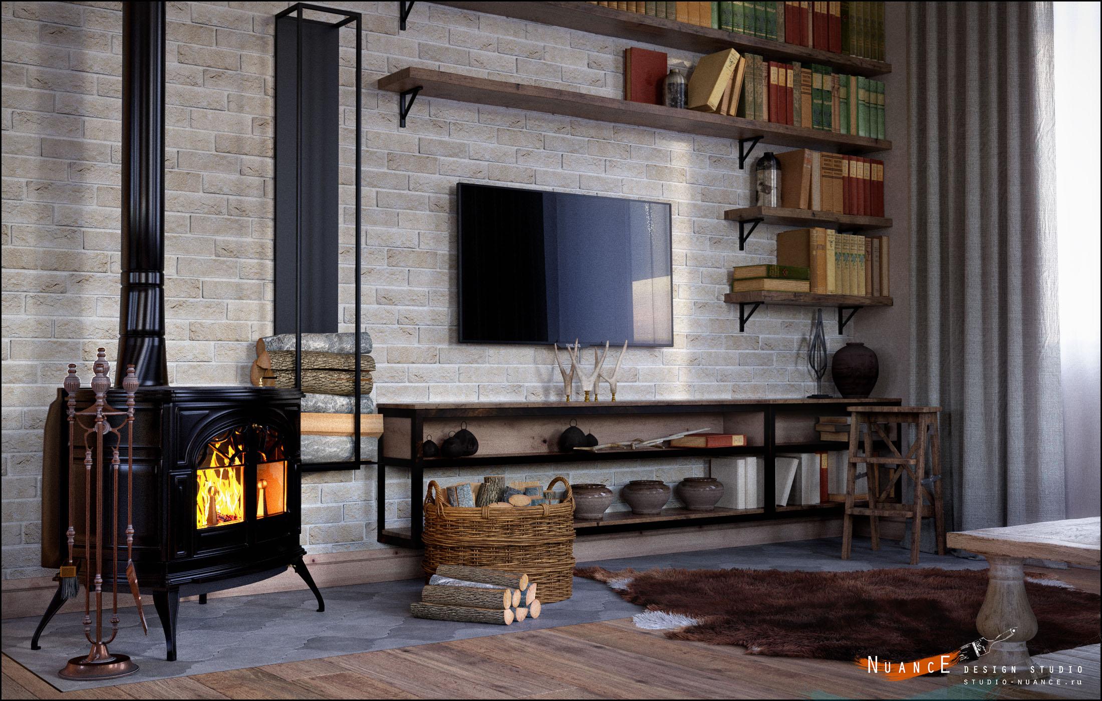 заказать дизайн интерьера гостиной комнаты стиль прованс кантри лофт камин