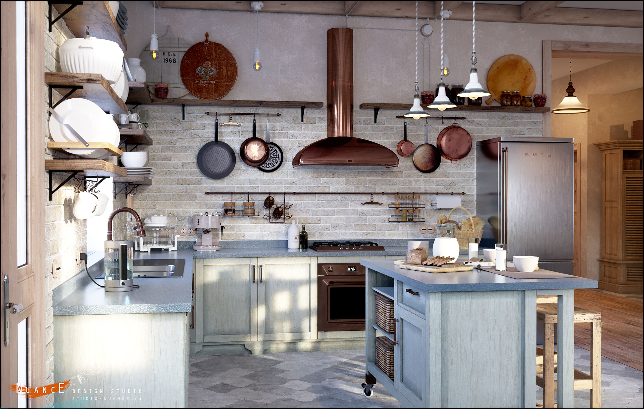 заказать дизайн интерьера кухни стиль прованс кантри лофт