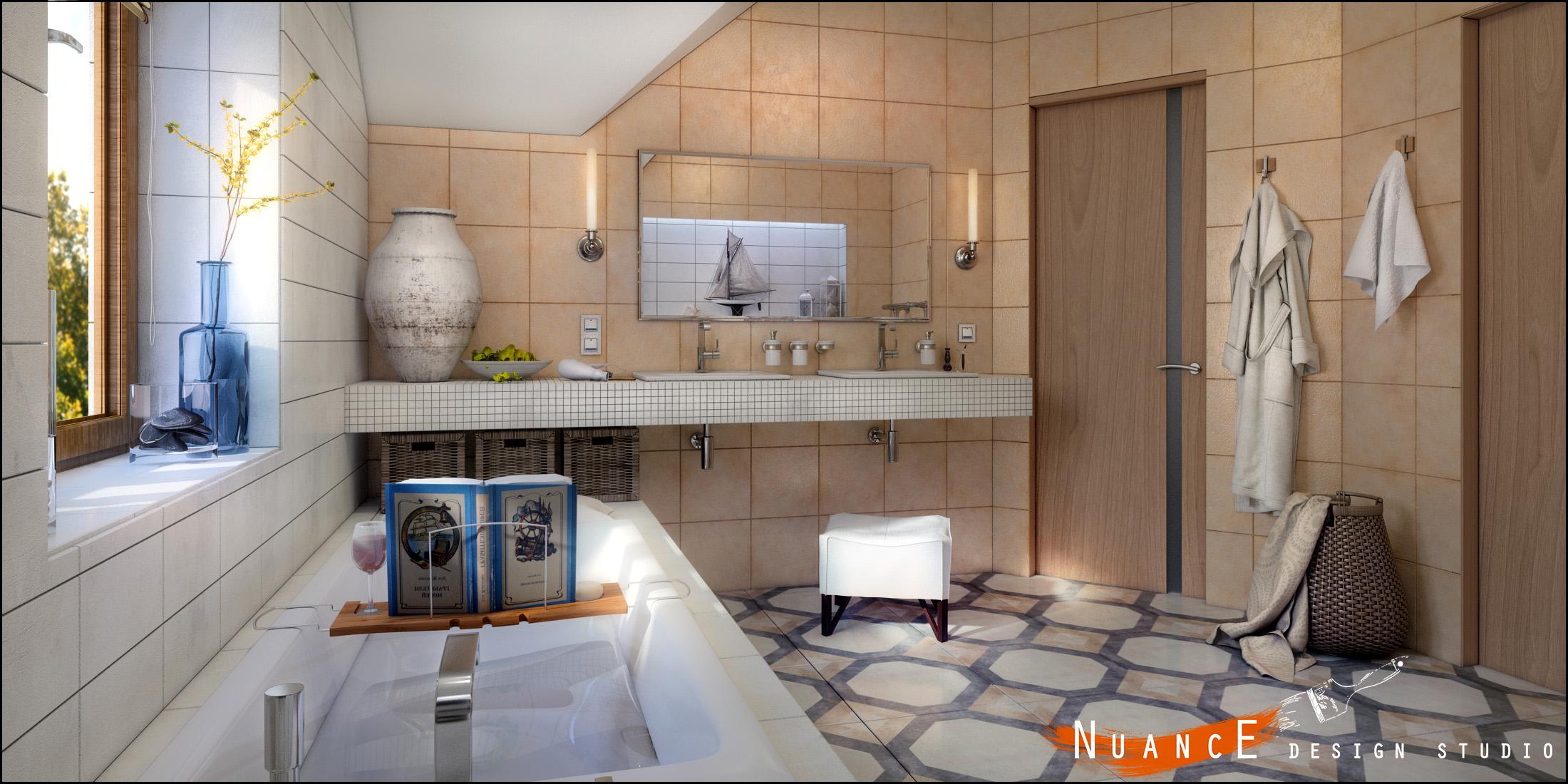 Интерьер ванной комнаты мансардные Акриловая ванна Riho Still Square 170х75